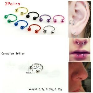 2Pairs Surgical Steel Circular Barbells Horseshoe Lip ring BCR nose ring earring
