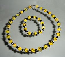 Würfelhalskette plus Armband  klein, Rockabella, Rockin-roll,Emo, gelb-schwarz