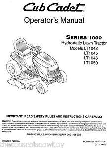 Cub Cadet Models LT1042 LT1045 LT1046 LT1050 Owners Operators Manual 769-01514L