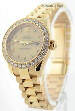 Rolex Ladies Datejust President 18k Yellow Gold & Diamonds Box/Papers  179178