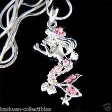 w Swarovski Crystal Sea Nymph Pink Mermaid Starfish Pendant Charm Chain Necklace