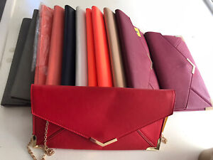 JobLot Wholesale 12x Pu Envelope Clutch Bags With Optional Chain Strap