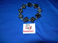 NEW HAND MADE BLACK DICE BRACELET WITH WHITE PIPS FREE SHIPPING