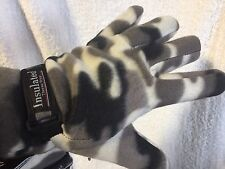 2 Pair White Camouflage Gloves FLeece Camo Hunting NEW Thermo One Size