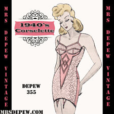 Vintage Sewing Pattern 1940's Corselette Garter Belt in Any Bust Size- PLUS Size