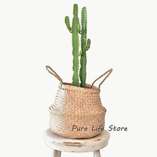 Seagrass Storage Basket Foldable with handles foldable plant pot 27X24cm toilet