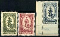 Liechtenstein, MiNr. 40-42, 2 Kr. Eckrand links unten, postfrisch / MNH - 608458