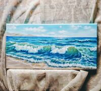 "Art 18""/9""oil hand painting, Seascape,ocean waves,surf,nature,Marine landscape"