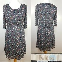 Boden Grey Floral Print Belted Floaty Tea Dress Size 12 Wedding Cruise Party