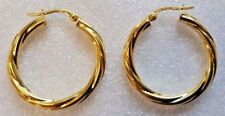 14ct Yellow Gold Twist Hoop Creole Earrings 1.56g NEW Xmas Gift Mum Wife 585 14k