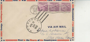 FDC #727 NEWBURGH G.W. HEADQUARTERS ULTR AIR BORDER 3 STAMPS TWO VARIED CANCELS