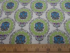 "1 Yard Kaufman ""Olive Leaf"" Teal/Green on White  Fabric"