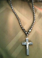 Necklace, Natural Hematite  with Crucifix Cross for Women or Men Natural Stone