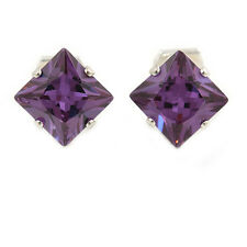 8mm Purple CZ Square Clip on Earrings in Rhodium Plating
