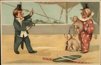 Circus Clown Poses w/ Pigs For Photographer Camera c1910 Postcard xst