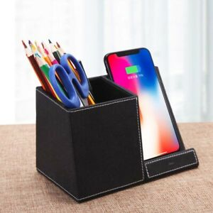Leather pen holder wireless charger
