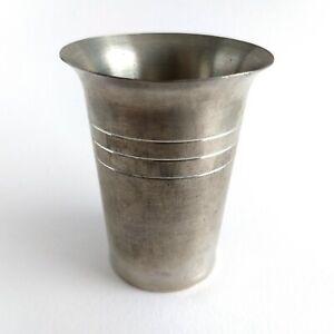 "Zinn Vintage German Pewter Cup Goblet Chalice H 3 1/2"" Rein Zinn"