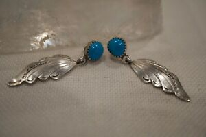 Vintage Native American L. Ramone Sterling Turquoise Feather Dangle Earrings