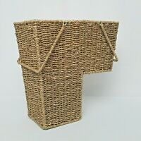 Wicker Handwoven Stair Step Storage Basket Container with Handles