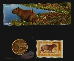 Capybara 2 postage stamps & 1 coin from Uruguay Capi Combo !