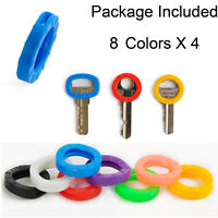 32 Pcs Colors Hollow Silicone Key Cap Cover Key Ring Topper Keyring With braille
