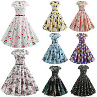 Women 50s 60s Vintage Retro Rockabilly Pinup Party Skater Hepburn Dress Cocktail