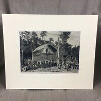 1890 Aufdruck Neu Guinea Aiambori Village Tribal Tribe Original Antik