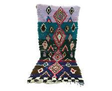 Berber rug 3x7 Moroccan Vintage Boucherouite, Morocco Carpet tribal rugs teppich