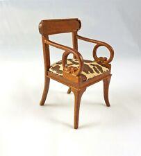 Dollhouse Miniature Arm Chair Art Nouveau Style Animal Print Walnut Finish 1 12