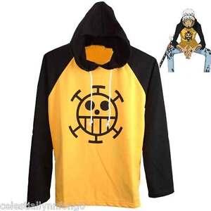 Anime One Piece Trafalgar Law Cotton Hoodie T-Shirt Full Sleeve Cosplay Tops Tee