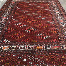 "ANTIQUE YOMUT Yomud Turkmen TURKOMAN DYRNAK GUL MAIN CARPET RUG 4'4"" x 6'2"""