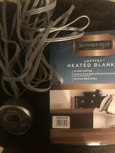 Sunbeam Heated Electric Brown Blanket Twin Loftec