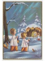 Tarjeta Postal Feliz Cumpleaños Vintage Ed.piccoli Nieve Navidad Monaguillos de