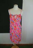 Next Size 12 Pink Floral Print Sleeveless Drop Waist Summer Beach Dress