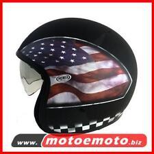 Casco Moto Scooter Jet Fibra Premier Vintage Bandiera America Flag Usa BM Custom