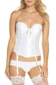 VA BIEN - Lace Plunge Low Back Bustier with Garters 6363 White $69