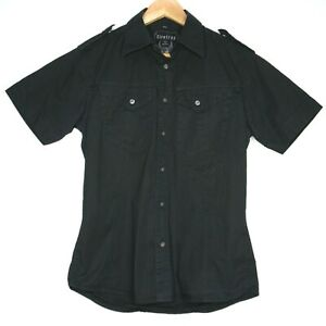 Firetrap Sheldon Short Sleeve Mens Button T-Shirt Size Medium Black