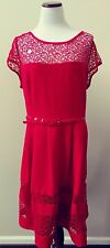 CITY CHIC 'Delicate Lace' Cap Sleeve Belted Fit Flare Red Dress XL FASHION HAVEN