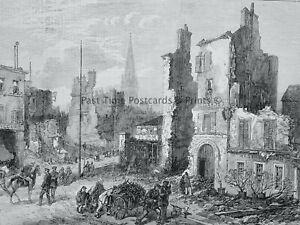 1871 Print RUIN AROUND PARIS - ST. CLOUD Franco Prussian War