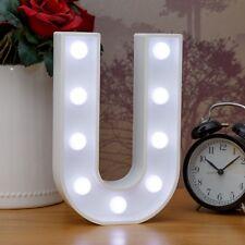 Light Up Letter U - White Marquee Letters 23cm LED Wooden Letter Lights Sign A-Z