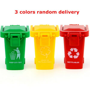 3 Mini Trash Can Toy Garbage Truck Cans Original Color Curbside Vehicle Bin Toys