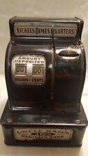 Vintage Uncle Sam's 3 Coin Register Bank Nickels Dimes Quarters 1923 Model