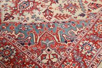 One-of-a-kind Geometric Oriental Area Rug Hand-Knotted Wool Carpet IVORY 7x9 NEW