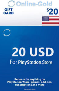 For 20 Dollar Playstation Network - For PS5, PS4, PS3 PS Vita Guthaben Code - US