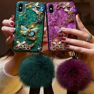 3D Butterfly Marble Bling Diamond Ring Stand Fluffy Ball Wrist Strap Phone Case