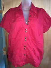 Cato Red Button Up Dress Shirt Size XL Short Sleeve Lightweight Summer