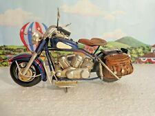 Cycle Vintage Metal Motorcycle Blue with brown saddle bags