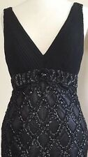 SUE WONG 1920's Gatsby Black Beaded Embellished Evening Cocktail Dress 8
