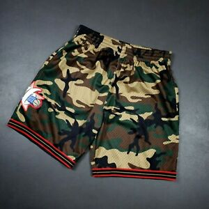 100% Authentic Mitchell & Ness 97 98 Sixers Camo Shorts Pockets Size XL 48 Mens