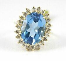 14k Yellow Gold Diamond Blue Topaz Halo Ring